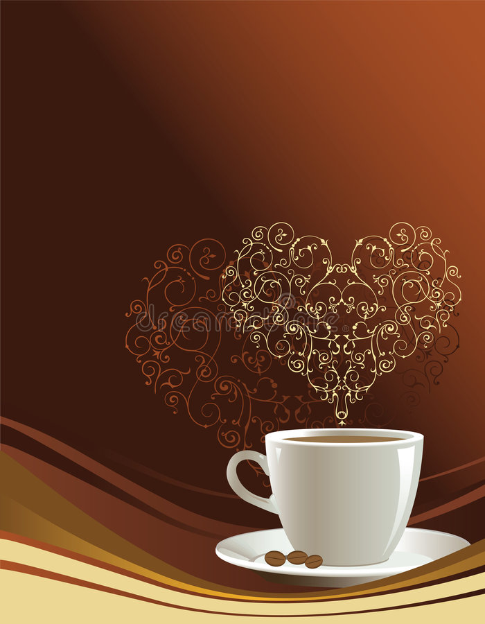 Taza de café en un fondo marrón ilustración del vector