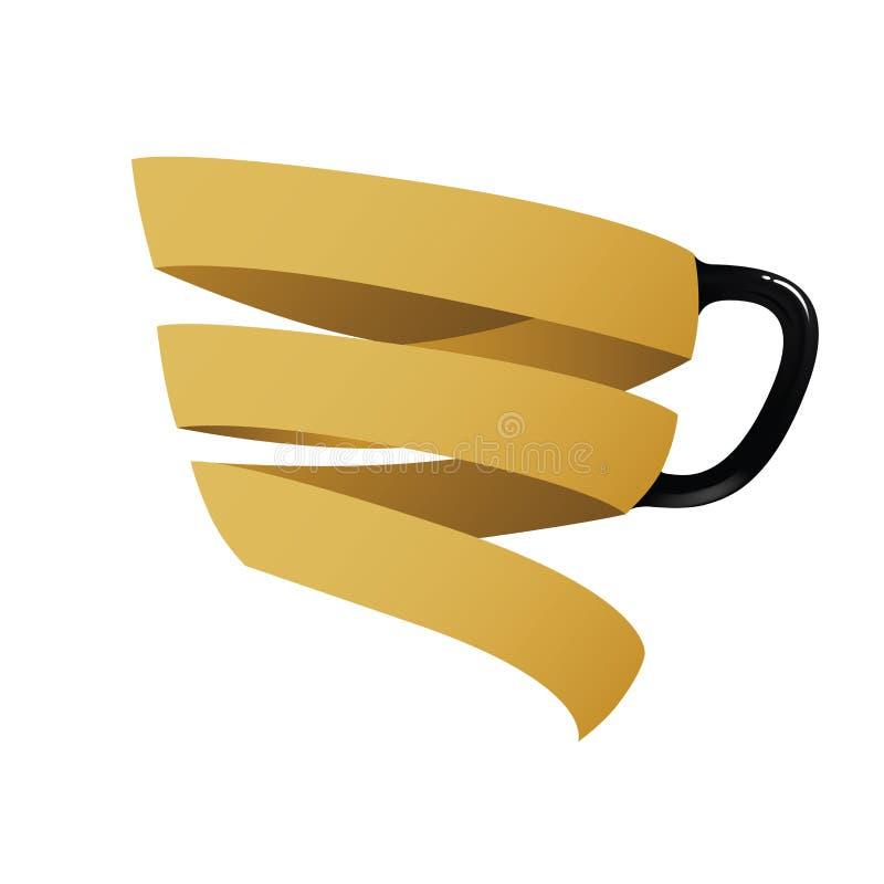 Taza de café estilizada del satén del oro stock de ilustración
