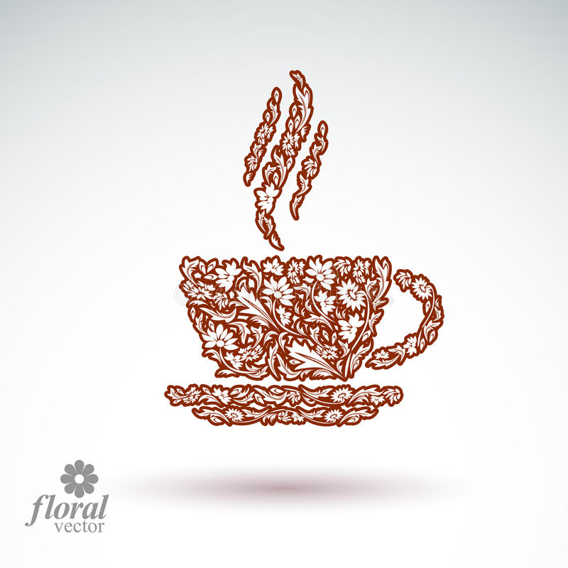 taza de café Flor-modelada con vapor aromático Cita t ilustración del vector