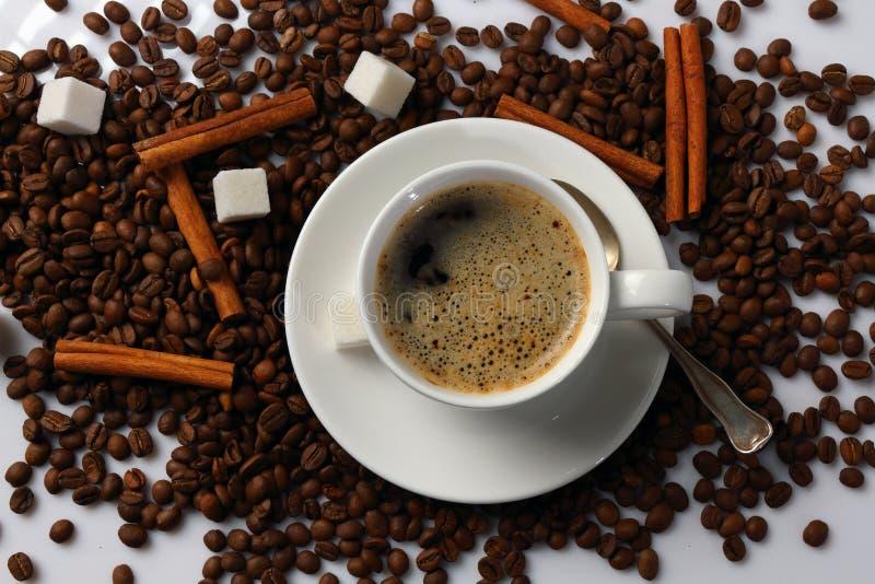 Taza de café, de granos de café, de canela y de azúcar imágenes de archivo libres de regalías