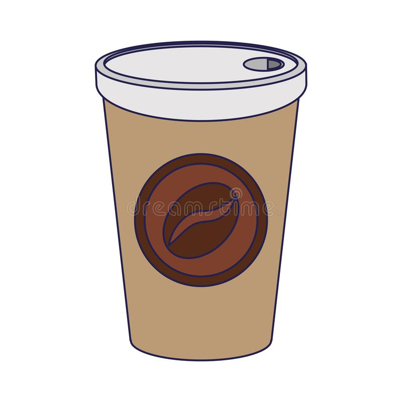Taza de café a ir a beber líneas azules ilustración del vector