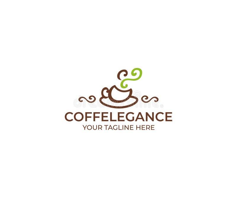 Taza de café Logo Template Diseño del vector de la bebida stock de ilustración