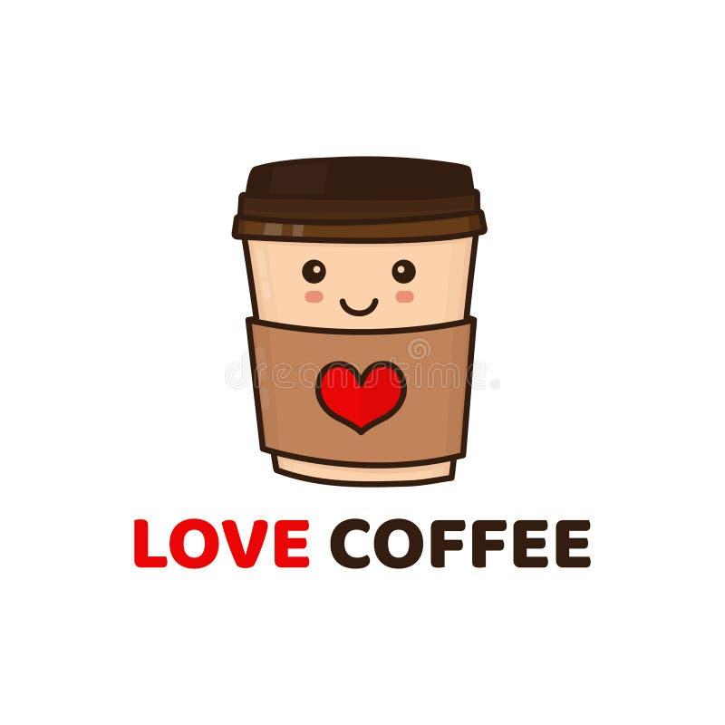 Taza de café de papel feliz divertida linda Vector stock de ilustración