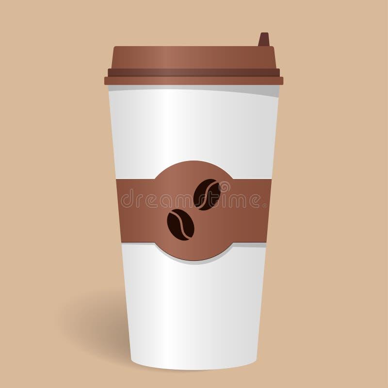 Taza de café de papel realista con la tapa y emblema con los granos de café Café para llevar Café a ir Ilustración del vector stock de ilustración