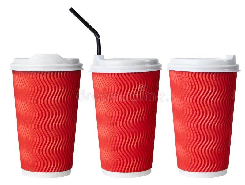 Taza de café de papel roja disponible, taza de papel con la paja de beber fotos de archivo libres de regalías