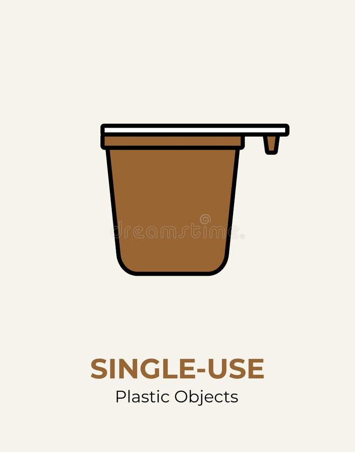 Taza de café plástica no reutilizable con la manija Ejemplo del vector de reciclar la taza de café plástica Logotipo plano del en stock de ilustración