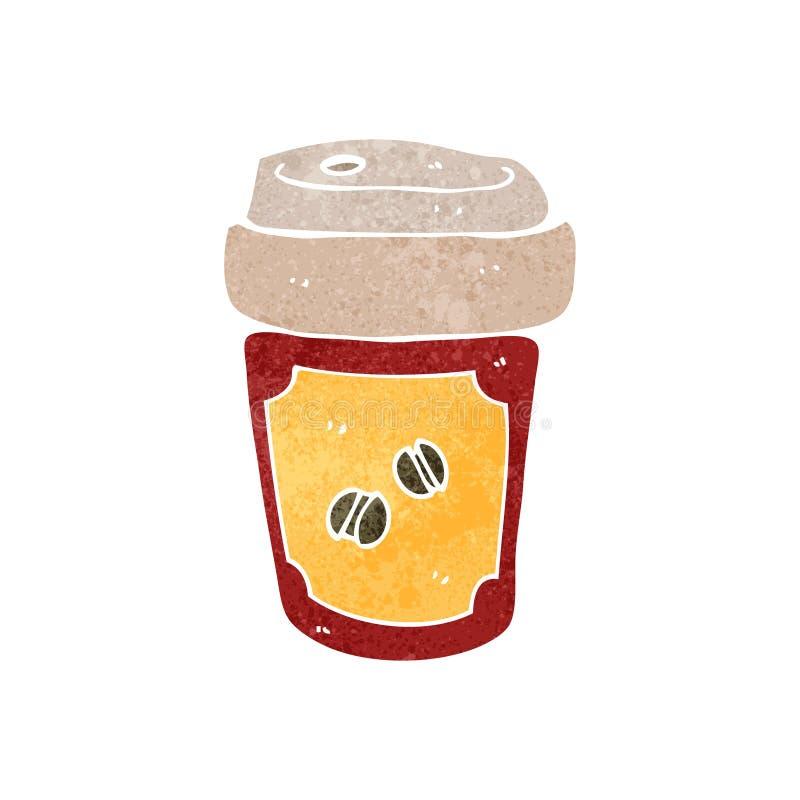 taza de café retra de la historieta stock de ilustración