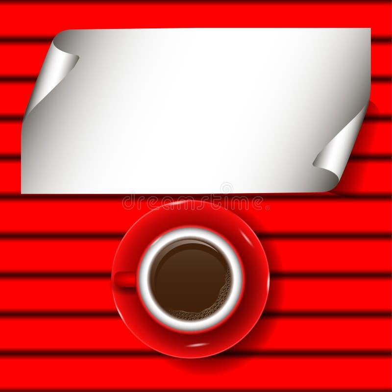 Taza de café roja ilustración del vector