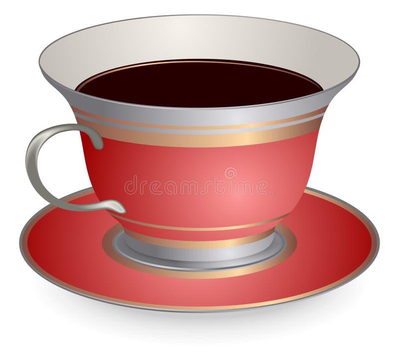 Taza de café roja stock de ilustración