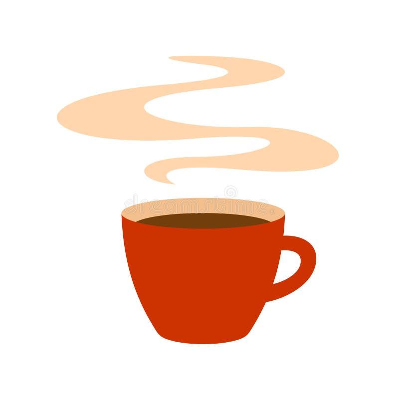 Taza de café roja caliente con el ejemplo del vapor libre illustration