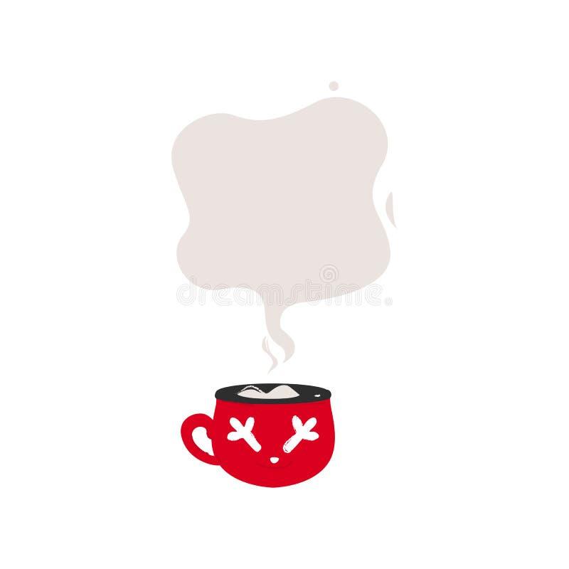 Taza de café roja con la burbuja del discurso del humo del vapor para la plantilla del texto ilustración del vector