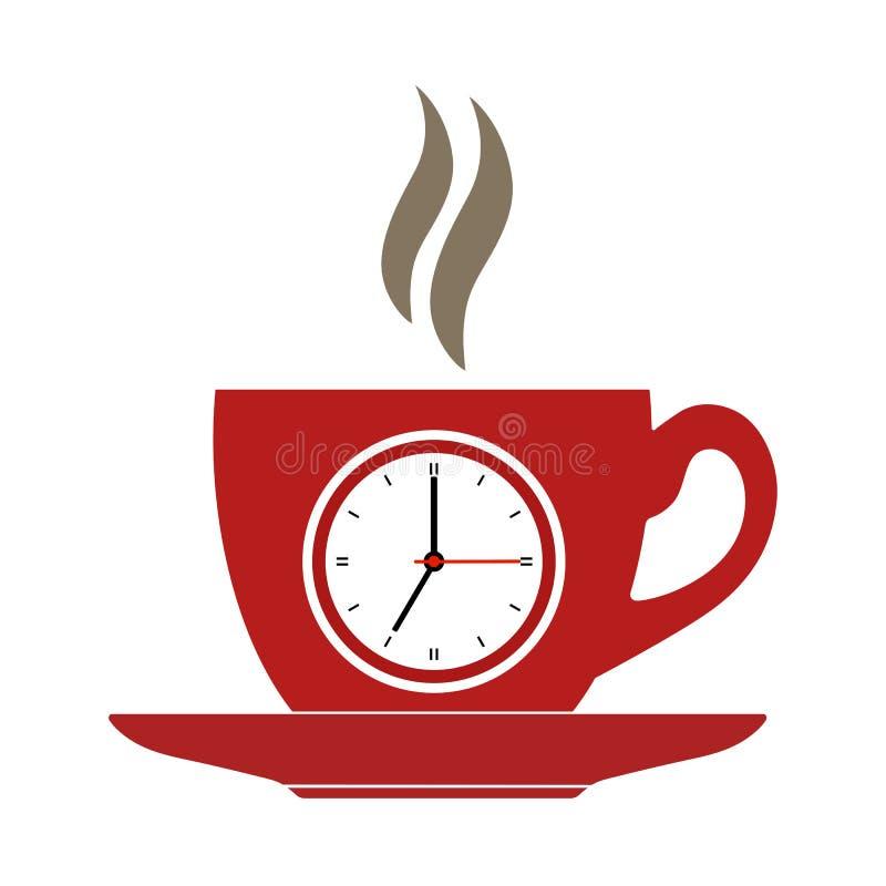 Taza de café roja con un reloj en el fondo blanco libre illustration