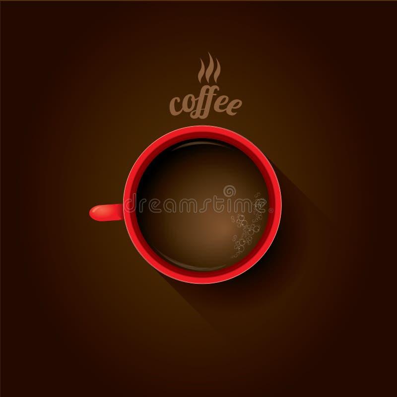 Taza de café roja taza de café plana de la endecha ilustración del vector