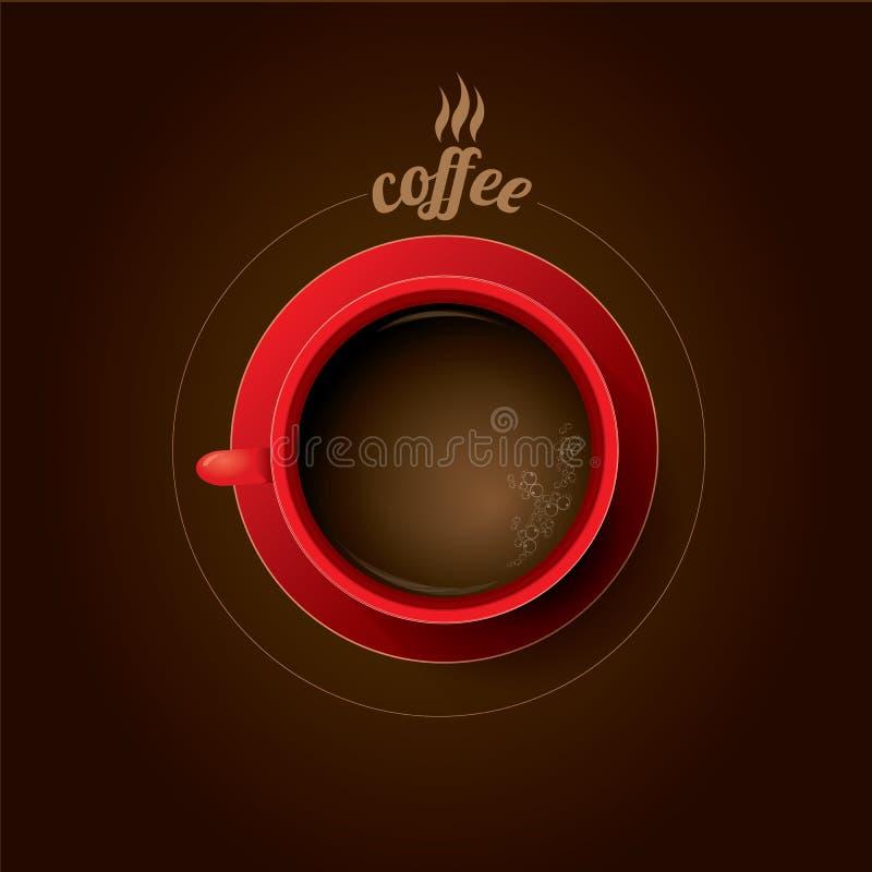 Taza de café roja taza de café plana de la endecha stock de ilustración