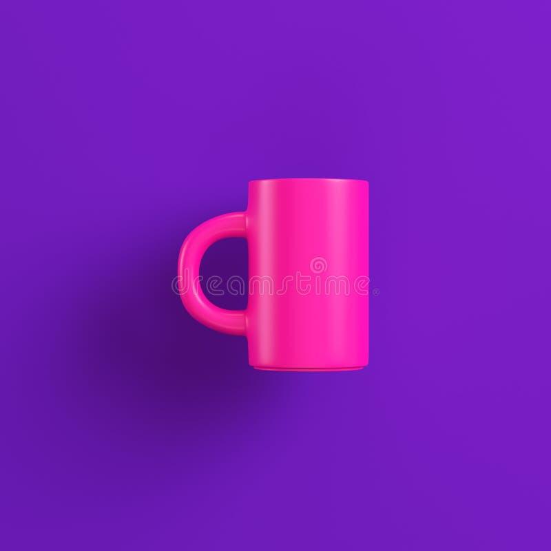 Taza de café rosada en fondo púrpura Concepto del minimalismo libre illustration
