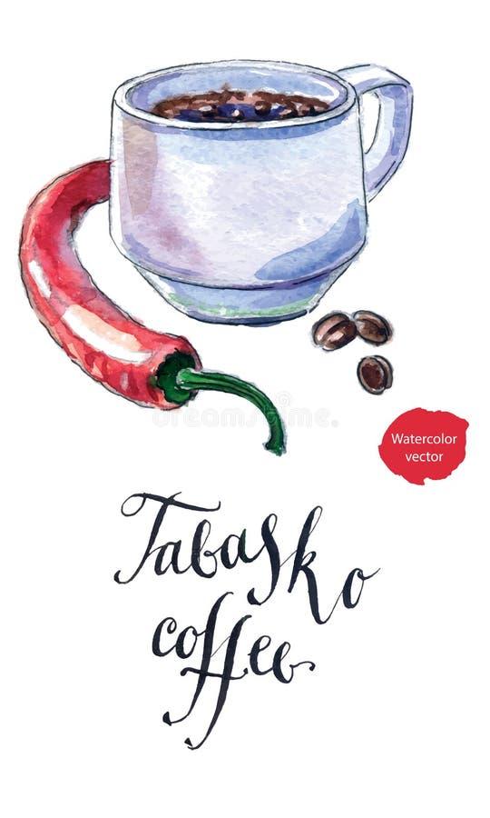 Taza de café sólo con la pimienta, café de Tabasco libre illustration