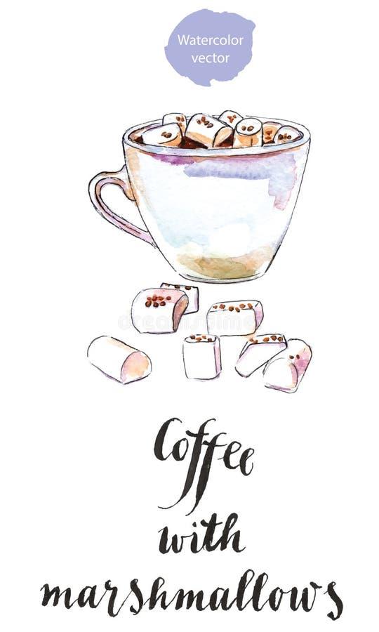 Taza de café sólo con las melcochas ilustración del vector