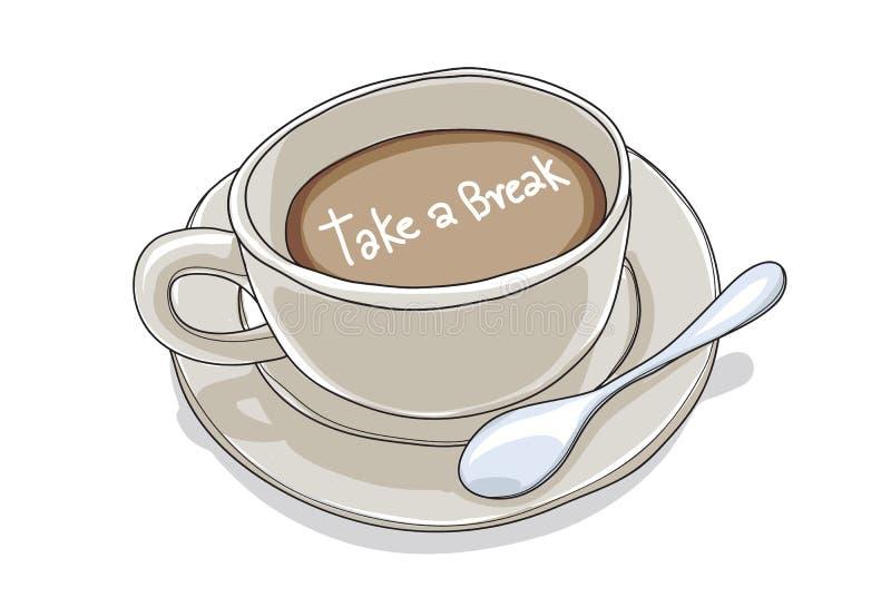 Taza de café tomar a una mano de la rotura vector exhausto ejemplo lindo de la pintura del arte stock de ilustración