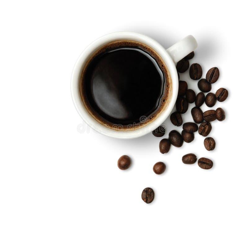 Taza de café y de café-habas imágenes de archivo libres de regalías