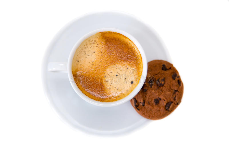 Taza de café y de galleta fotografía de archivo libre de regalías