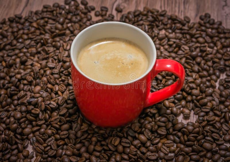 Taza de café y de granos de café derramados fotos de archivo libres de regalías