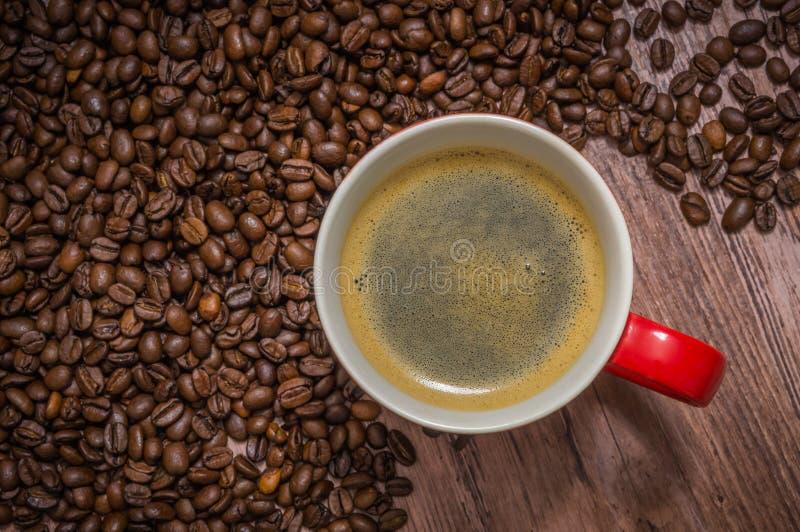 Taza de café y de granos de café derramados imagen de archivo