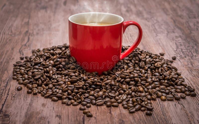 Taza de café y de granos de café derramados fotografía de archivo