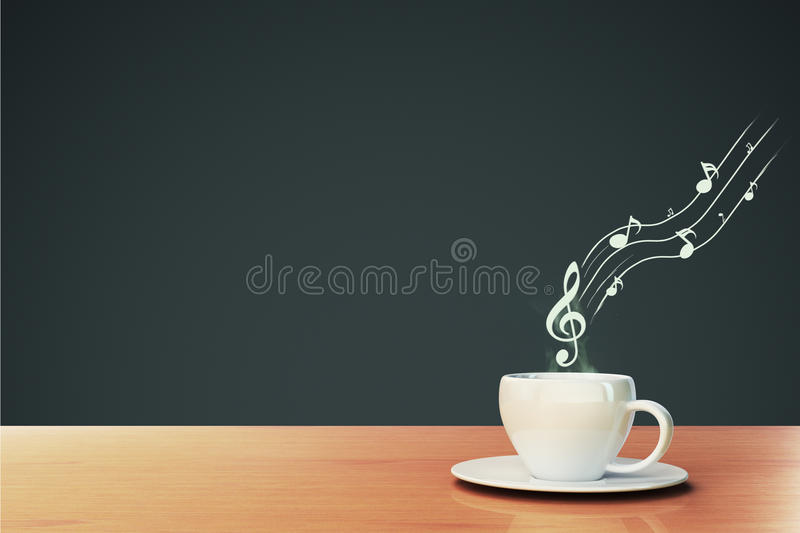 Taza de café y de notas musicales libre illustration
