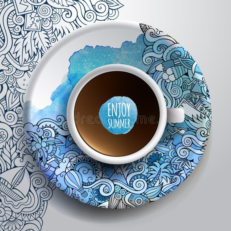 Taza de café y de verano dibujado mano de la acuarela stock de ilustración