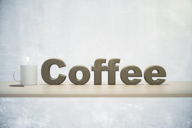 Taza de café y del café de la palabra en una tabla de madera fotografía de archivo