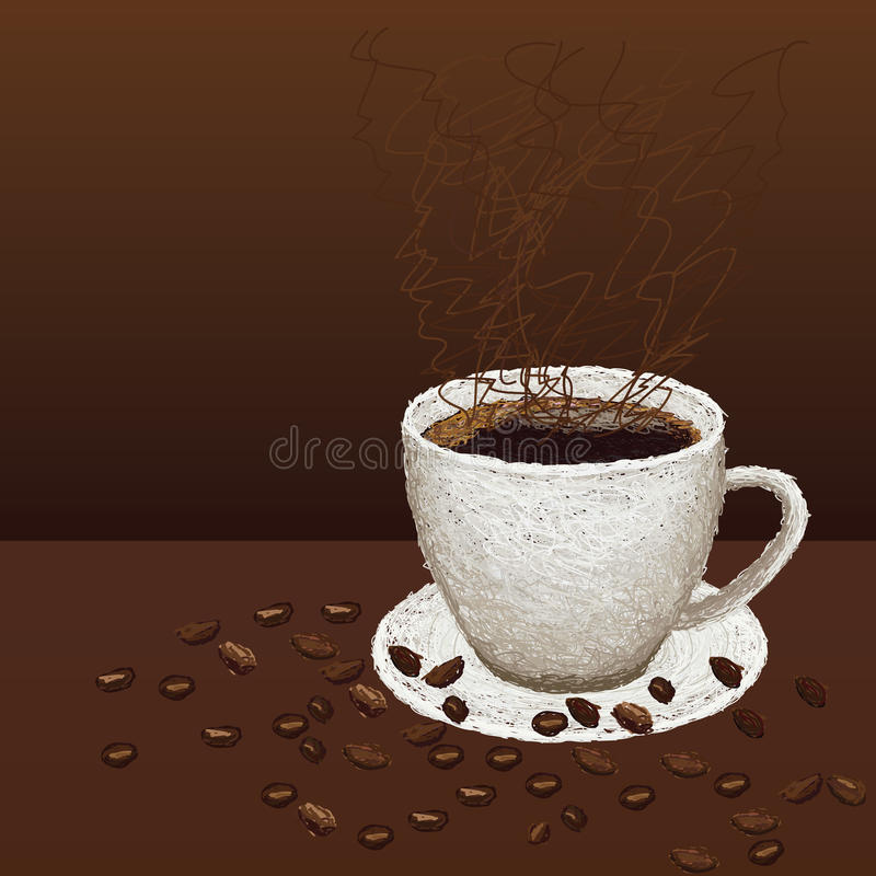 Taza-de-café-y-habas stock de ilustración