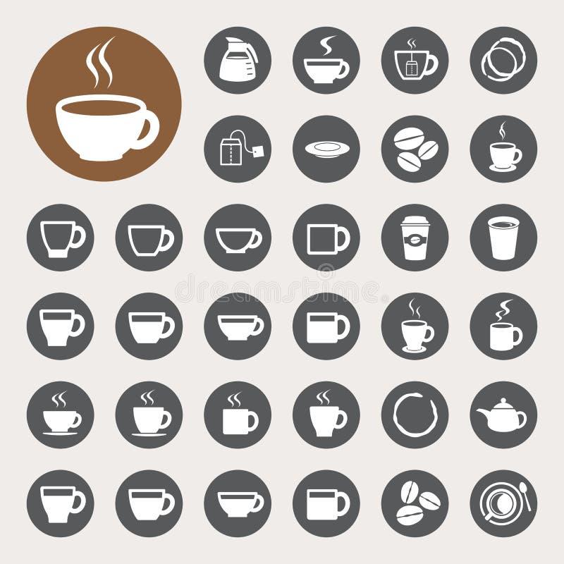 Taza de café y sistema del icono de la taza de té. ilustración del vector