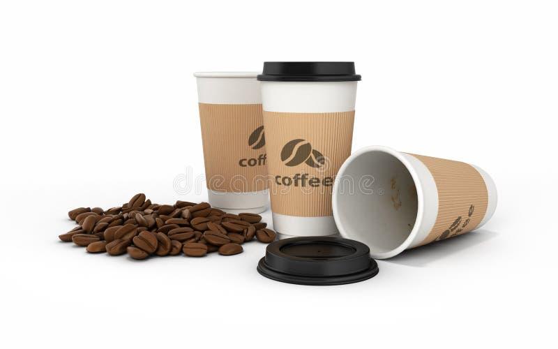 Taza de caf? de papel con los granos de caf? en el fondo blanco 3d stock de ilustración