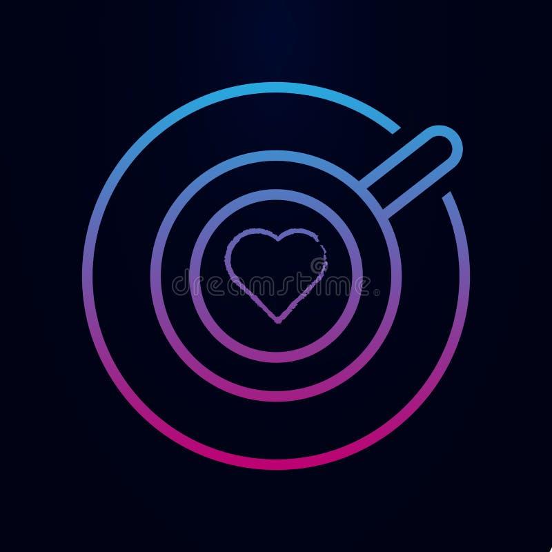 Taza de cappuccino con ícono de línea cardíaca nolan Línea delgada simple, contorno vectorial de iconos web para ui y ux, sitio w libre illustration