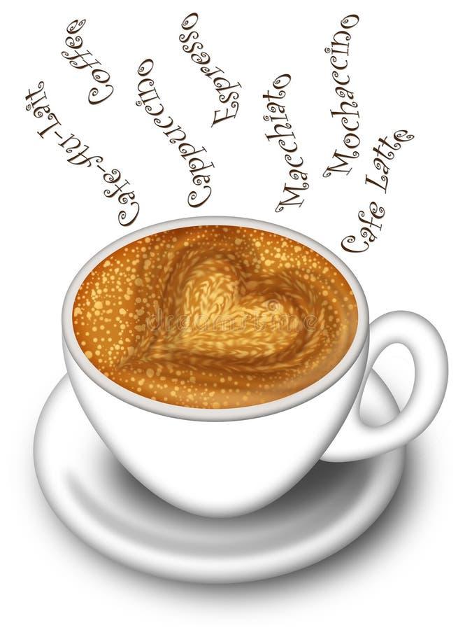 Taza de Cappuccino de Latte hecha con amor ilustración del vector