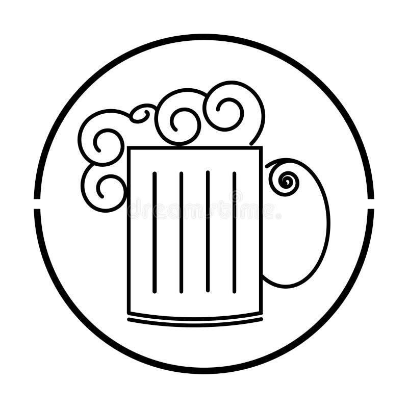 Taza de cerveza con el icono de la espuma en el fondo blanco stock de ilustración
