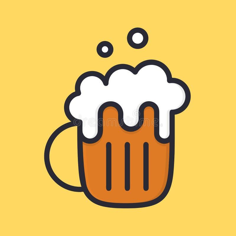 Taza de cerveza con espuma ale Icono del alcohol de la historieta Estilo plano ilustración del vector