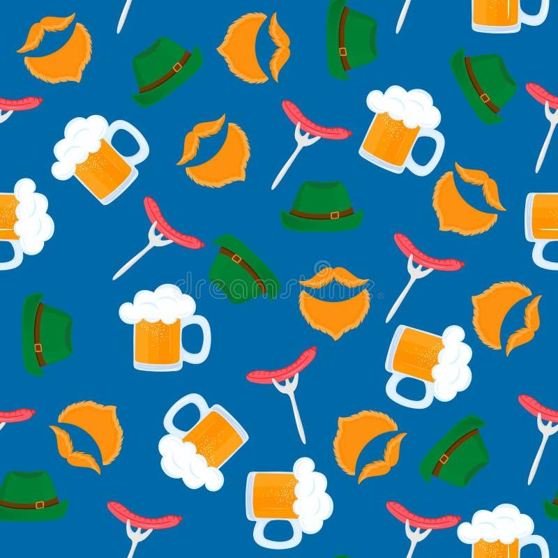Taza de cerveza con espuma Parrilla de la salchicha en una bifurcación Sombrero verde Pasteles alemanes tradicionales Comida naci libre illustration