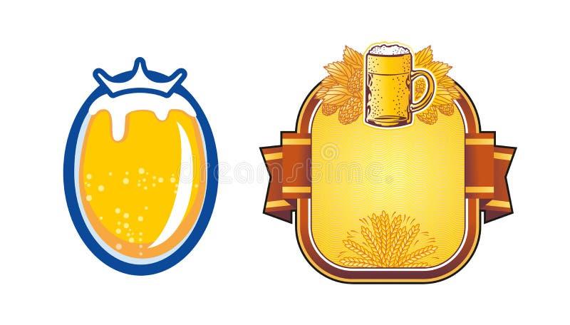 Taza de cerveza del escudo con las ramas del salto Vector stock de ilustración