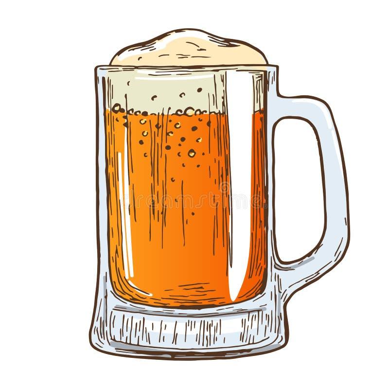 Taza de cerveza en el fondo blanco stock de ilustración