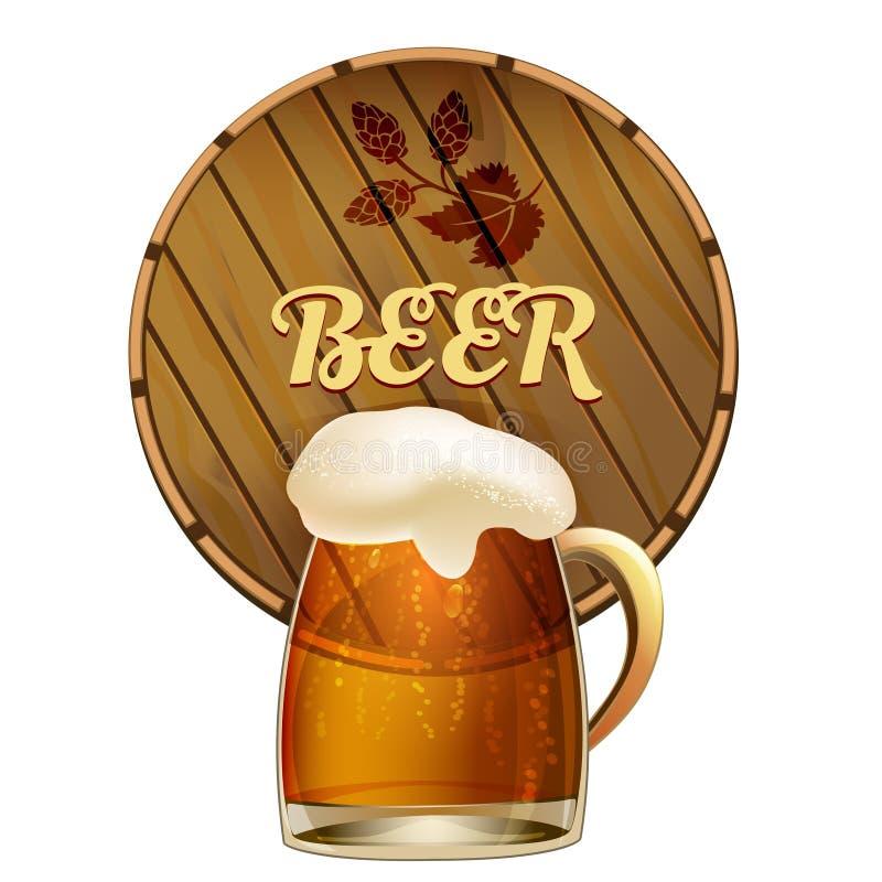 Taza de cerveza espumosa con un barril ilustración del vector