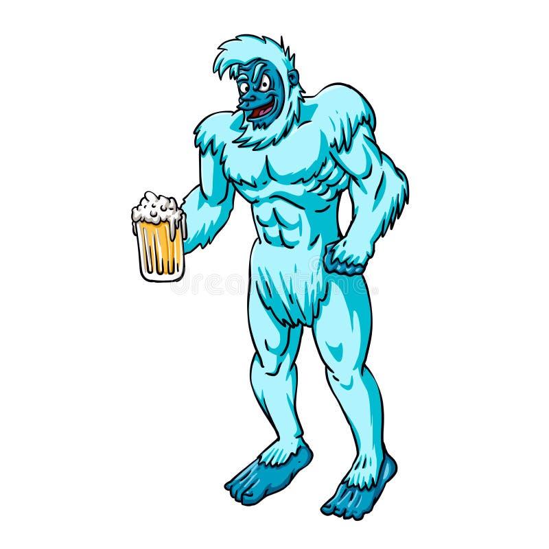Taza de cerveza grande de la tenencia azul del yeti libre illustration