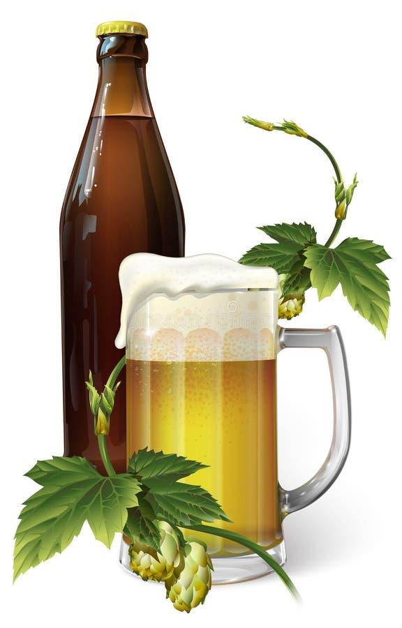 Taza de cerveza, salto, botella imagen de archivo
