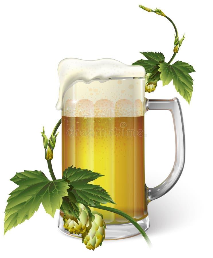Taza de cerveza, saltos, vector foto de archivo libre de regalías