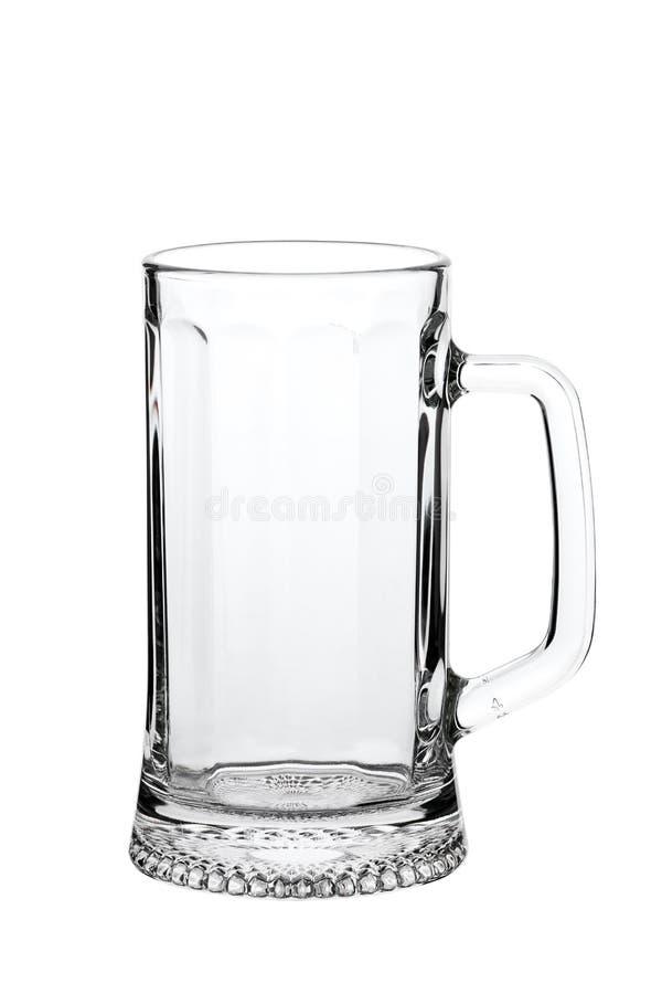 Taza de cerveza vacía en blanco foto de archivo