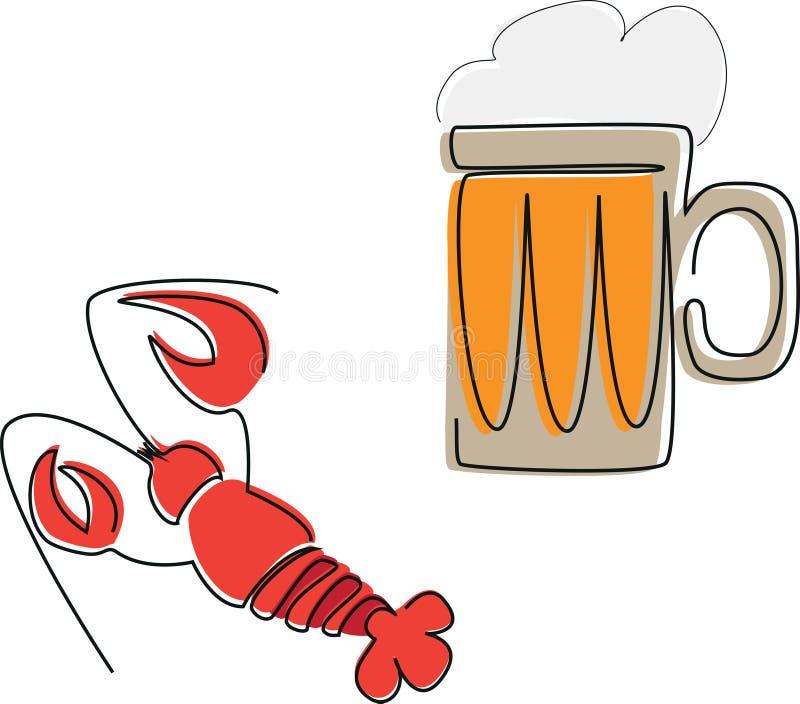 Taza de cerveza y de una langosta fotografía de archivo