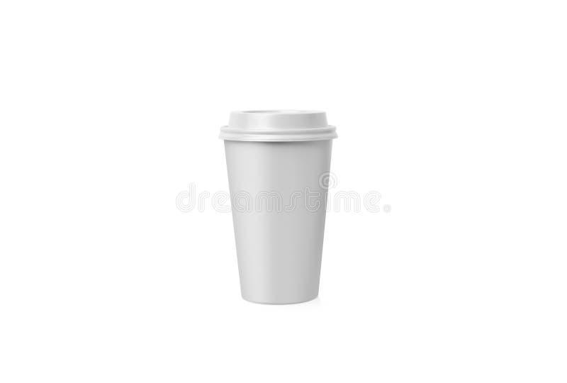 Taza de Coffe Taza del Libro Blanco con una cubierta sin la etiqueta aislada en fondo Llévese la bebida foto de archivo