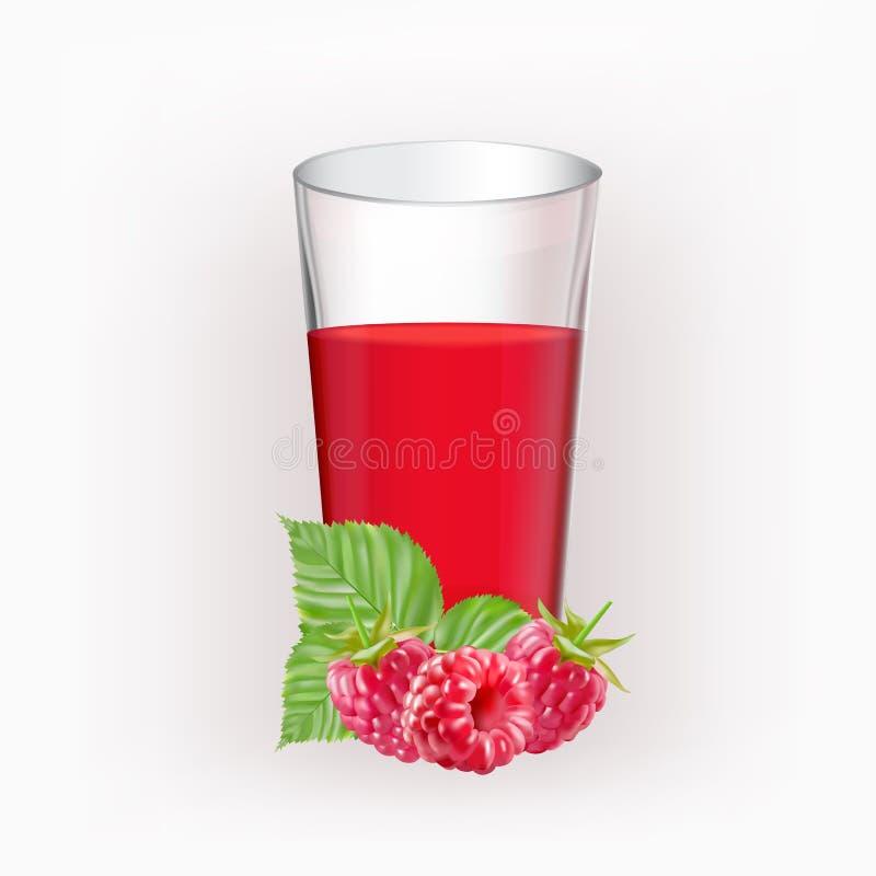 Taza de cristal con el jugo de frambuesas ilustración del vector