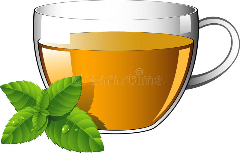 Taza de cristal de té con las hojas de menta ilustración del vector