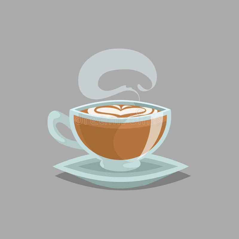 Taza de cristal del café con café con leche y vapor planos La espuma poner crema de la leche en top y el corazón dibujan Estilo r ilustración del vector